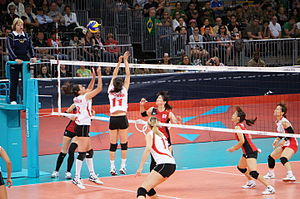 Algeria and Japan women's national volleyball team at the 2012 Summer Olympics (7913959028).jpg