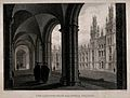 All Souls College, Oxford; cloisters and chapel. Line engrav Wellcome V0014062.jpg