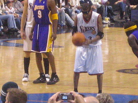 Iverson attempting a free throw against the Lakers Allen Iverson free throw.jpg