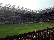 Vue du stade de L'Allianz Arena depuis une tribune en bas.