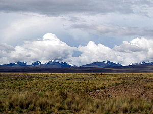 Mollo culture - The peaks of the Cordillera Real as seen from the Bolivian Altiplano.