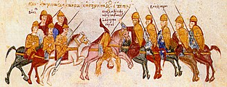 Battle of Thessalonica (995) - The death of Gregory Taronites, as depicted in the Madrid Skylitzes