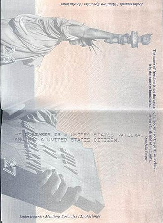 United States nationality law - Message in the passport of an American Samoan stating that the passport holder is a national, not citizen, of the US