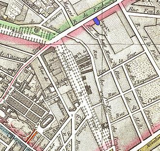 Amphithéâtre Anglais - The Amphithéâtre d'Astley (in blue) on an 1814 map of Paris