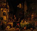 An alchemist in his laboratory. Oil painting by a follower o Wellcome V0017634.jpg