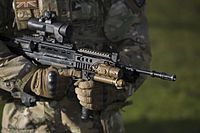 Soldier holding an assault rifle