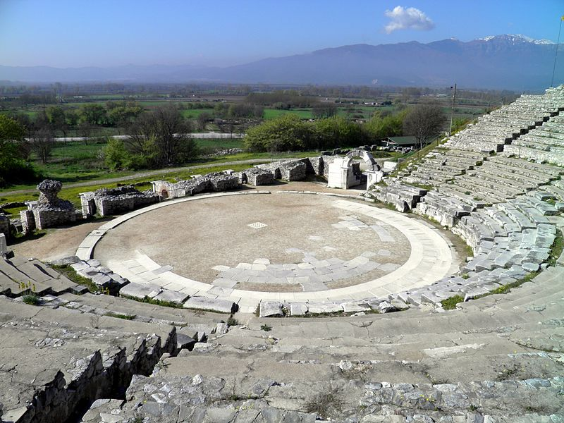 Ancient Theatre, built by Philip II in the 4th century BC and later reconstructed by the Romans, Philippi (7272297822).jpg