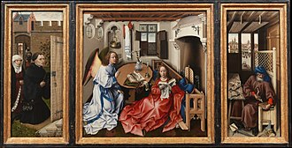"Triptych - The ""Merode Altarpiece"", attributed to the workshop of Robert Campin, c. 1427–32"