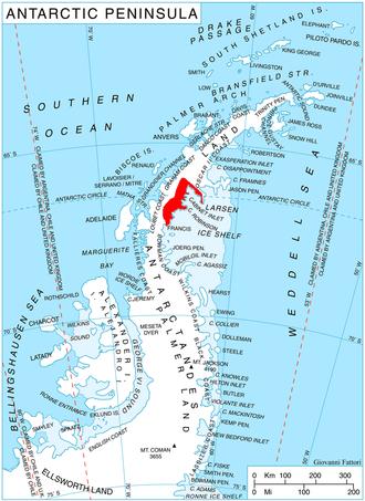 Aagaard Glacier - Location of Foyn Coast on Antarctic Peninsula.