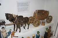 Antique toy wooden wagon and horses (26633697105).jpg
