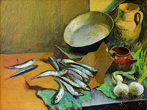 Fish products - Antonio Sicurezza, still-life with anchovies (1972)
