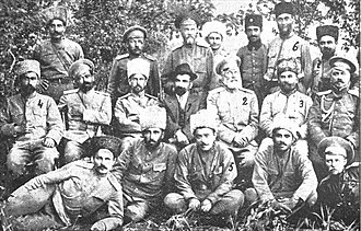Aram Manukian - Aram (in center of the second row with black hat) along with other Armenian military commanders including Dro and Khetcho.