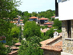 Overview of Arbanasi with new and old houses in a traditional style