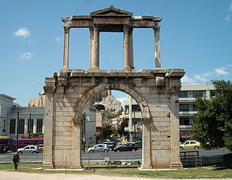 Arch of Hadrian (Athens) - Hadrian's Arch in Athens, with the Acropolis seen in the background.