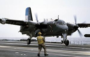 Argentine S-2T landing on carrier Sao Paulo 2006.jpg