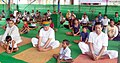 Arjun Ram Meghwal performing Yoga, on the occasion of the 3rd International Day of Yoga – 2017, in collaboration with the Ministry of AYUSH, at IRIIM Campus, Mourigram, Howrah, in West Bengal.jpg