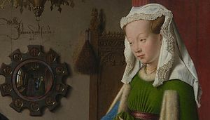 Arnolfini Portrait - Detail showing the female subject and convex mirror