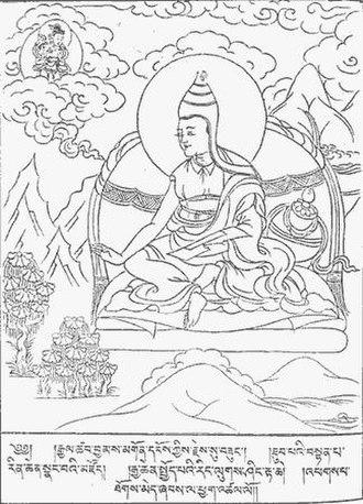 Abhisamayalankara - Tibetan illustration of Asaṅga receiving the AA from Maitreya in the Tuṣita heaven.