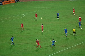 Thailand national football team - Thailand playing in the first leg of the 2007 AFF Football Championship finals at the National Stadium in Singapore. Singapore eventually won the match 2–1, and the championship.