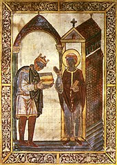 Crude painting of King Athelstan wearing his crown and handing over the book to a haloed Saint Cuthbert. Both men wear medieval robes.