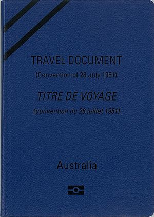 Australian Convention Travel Document - The front cover of an Australian biometric Convention Travel Document