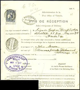 A 1917 International Postal Avis De Réception (proof Of Delivery) Form For  A Registered Letter From Melbourne Delivered In Mexico  Proof Of Receipt Form