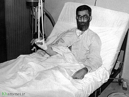 Khamenei in the hospital after the assassination attempt Ayatolla Ali Khamenei in Hospital after Assassination Attempt by khamenei.ir03.jpg