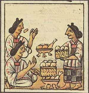 Basketry of Mexico - Scene from the Florentine Codex show food in baskets