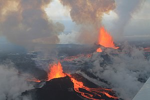 Fissure vent - Eruption fissure with spatter cones, Holuhraun, Iceland, 2014