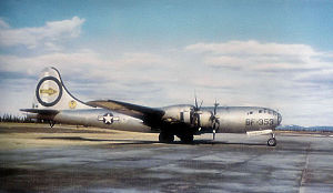 Martin-Omaha B-29-40-MO Superfortress Serial 44-27353 of the 509th Bomb Wing, Walker AFB, 1948. During World War II, 353 flew on both Atomic Bomb missions (6 August, 9 August) as an instrument aircraft monitoring the nuclear explosions.