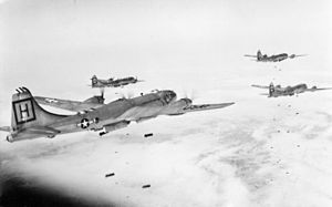 343d Bomb Squadron - 98th Bomb Group B-29s attacking a target in Korea