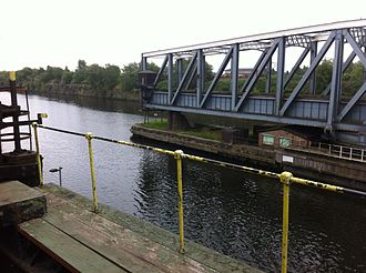 Barton Swing Aqueduct - The swing aqueduct in open position. At this point transit through the Manchester Ship Canal is possible.
