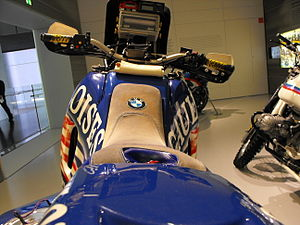 BMW R80G/S -  Paris-Dakar 2000 winner Richard Sainct's BMW F650RR in the BMW Museum, Munich, Germany