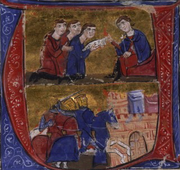 Manuel and the envoys of Amalric – arrival of the crusaders in Pelusium (from the Manuscript of William of Tyre's Historia and Old French Continuation, painted in Acre, Israel, 13th century, Bibliothèque nationale de France).