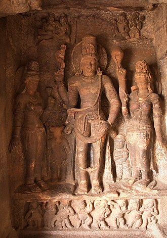 Hari - A statue of Harihara among the group of monuments at  the Badami Cave Temples
