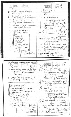 """Théoneste Bagosora - Pages of Théoneste Bagosora's diary of February 1992 showing elements of a program of """"civil self defence""""."""