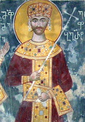 Bagrat III of Imereti - Bagrat III, a fresco from the Gelati Monastery