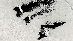 Satellitenbild der Balleny-Inseln vor der antarktischen Küste