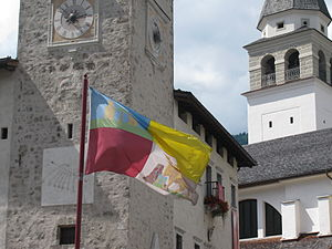 Cadore - Palace and flag of Magnifica Comunità Cadorina