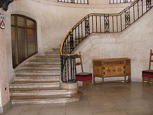 English: An interior staircase in the Banff Sp...