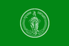 A green rectangular flag with the seal of Bangkok in the centre