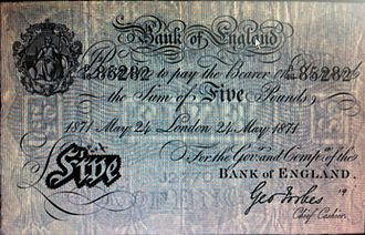 George Forbes (cashier) - A George Forbes signed Bank of England £5 banknote of 1871.