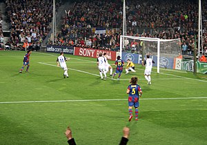 Rangers F.C. in European football - Barcelona scoring against Rangers in a Champions League match at Camp Nou.