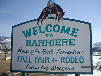Barriere, British Columbia - Image: Barriereswelcomesign