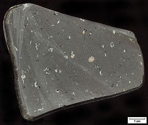 Igneous rock - Sample of basalt (an extrusive igneous rock), found in Massachusetts