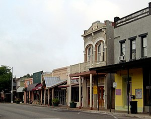 Main Street - A traditional Main Street; Bastrop, Texas, featuring the small shops and old-fashioned architecture typical of rural towns