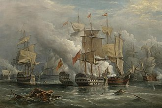 HMS Victory - The Battle of Cape Saint Vincent,  Richard Brydges Beechey, 1881