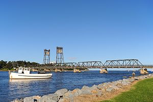 Batemans Bay - Looking towards the Batemans Bay Bridge from the banks of the Clyde River which flows into the bay.