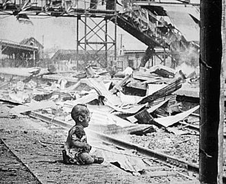 "Shanghai - ""Bloody Saturday"": a baby in the ruins of the old Shanghai South Railway Station after Japanese bombing in August 1937"