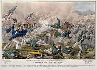 Battle of Churubusco by J. Cameron, published by Nathaniel Currier. Hand tinted lithograph, 1847. Digitally restored. Battle of Churubusco2.jpg